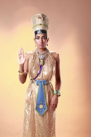 headdresses: Egyptian queen in pharaoh costume Stock Photo
