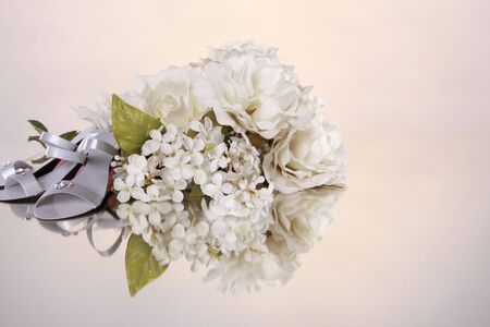 acknowledgement: Wedding favors and flower bouquet with space for typesetting