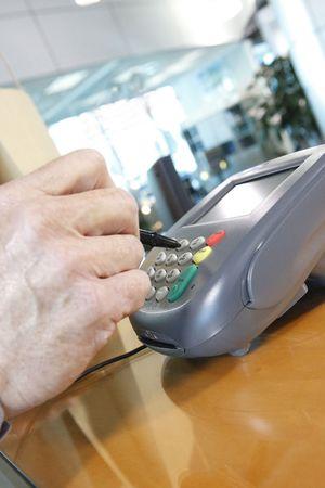 transactional: Keying pin numbers on a merchants transactional terminal
