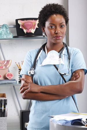 Cute afro-american doctor at her office Stock Photo - 6593825