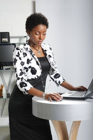 Cute executive interacts with her computer Stock Photo - 6593916