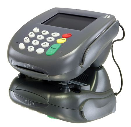 cashless: Card reader, color screen with youe message here! Stock Photo
