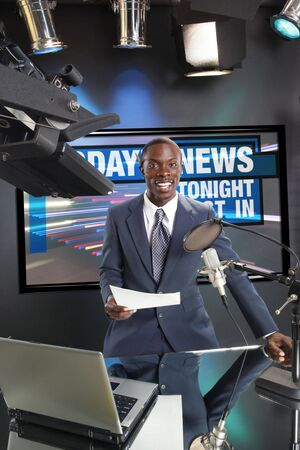 TVRadio news anchor with prompter and microphone
