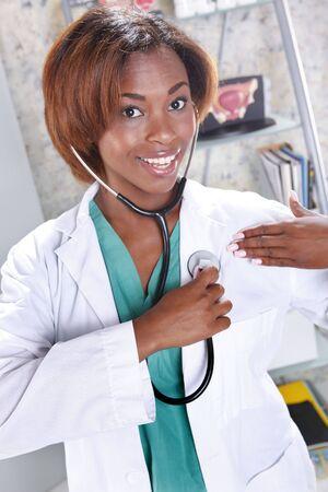 stetoscope: I wnat to use my stetoscope on you Stock Photo