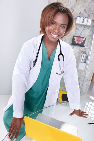Expressions of a doctor at her office photo