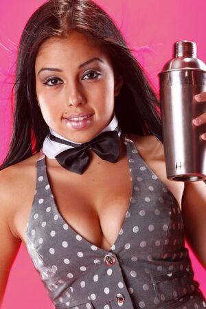 Cute bartender and stainless shaker photo