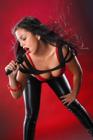 Open microphone for a cute performer photo