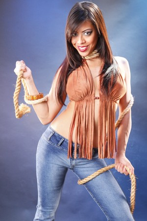 native american girl: Young native american with strings attached Stock Photo