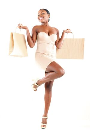 Cute African American and shopping bags photo