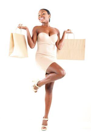 chicas de compras: Cute negra y bolsas de compra  Foto de archivo