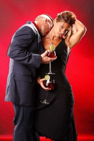 Sangria wine cocktail and passion couple photo