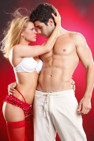 erotic couple: Passionate couple show their affection Stock Photo