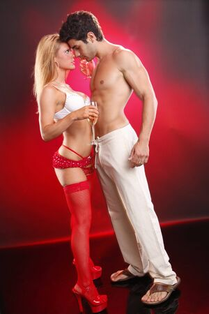 Passionate couple enjoys cold white wine Stock Photo - 7484201