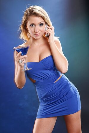 Cute blond and blue kamikaze cocktail photo