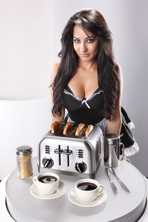 Sexy french maid fixes breakfast photo