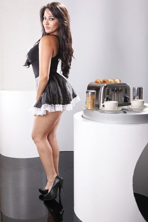 Sexy french maid fixes breakfast