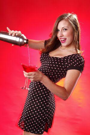 Cute polka dot and cosmopolitan artini cocktail Stock Photo - 7598299