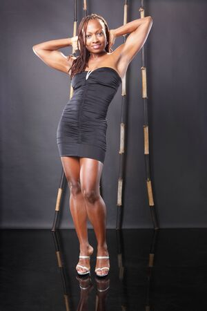 Cute african american in little black dress photo
