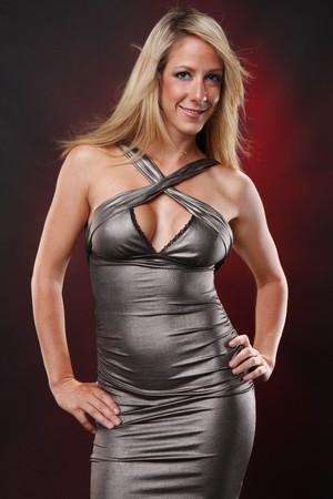 spandex: Cute blond in silver dress Stock Photo