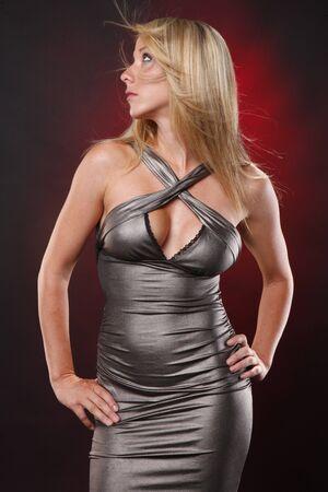 Cute blond in silver dress photo