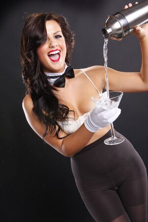 lass: Cute brunette serving a martini