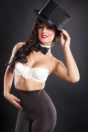 Attractive master of ceremonies in bra and pantyhose Stock Photo - 7849820