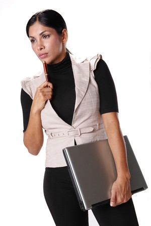 Young businesswoman and laptop computer photo