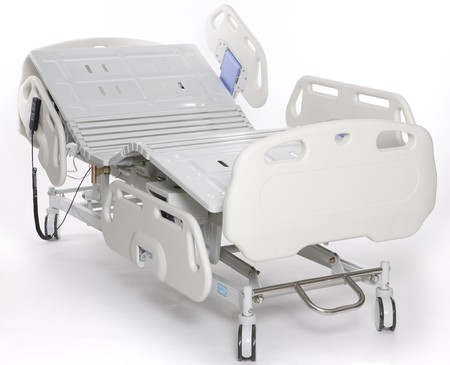 patient in hospital: Mobile and adjustable hospital stretcher