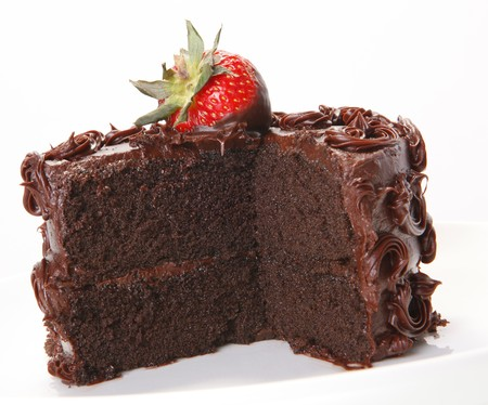 topped: Strawberry topped chocolate sponge cake