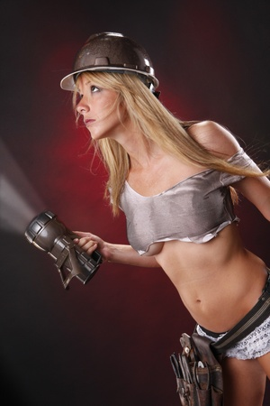 Sexy blond as glamorous utilities worker Stock Photo - 8271086