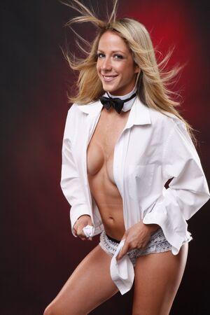 Sexy tuxido bow tie and white shirt photo