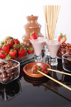 Chocolate cream liquor and strawberry chocolate foundue Stock Photo
