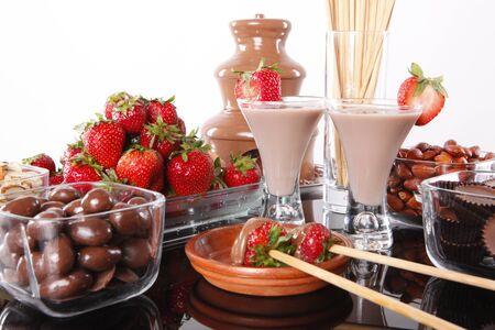 Chocolate cream liquor and strawberry chocolate foundue 版權商用圖片