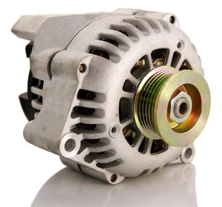alternator: Generic electric automotive alternator isolated Stock Photo