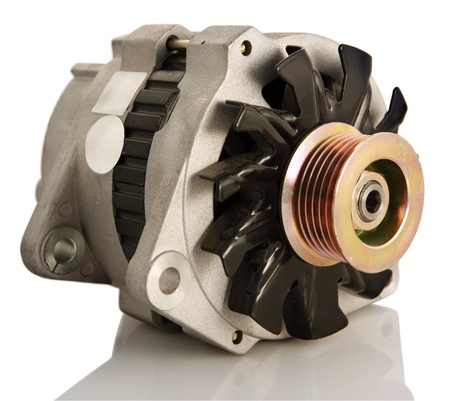 generators: Generic electric automotive alternator isolated Stock Photo