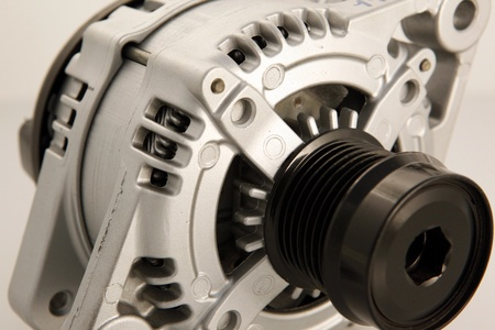 alternator: Generic electric automotive alternator close up Stock Photo