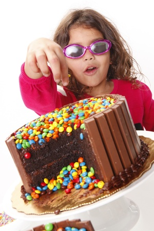 Cute girl goes for a chocolate cake photo