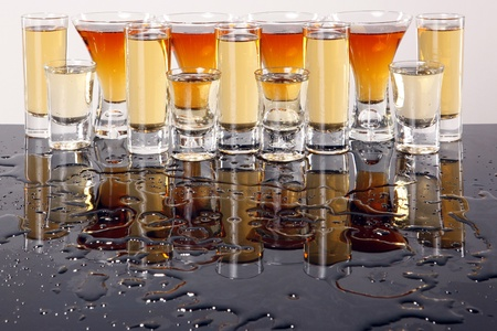 tequila: Shooters with whiskey, tequila and rum Stock Photo