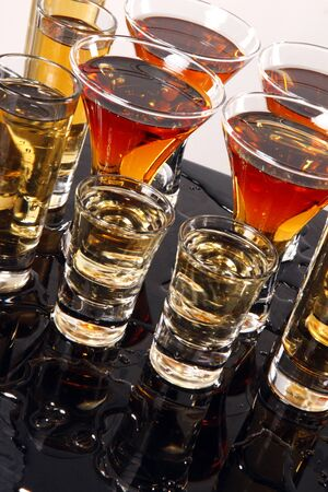 shooters: Shooters with whiskey, tequila and rum Stock Photo