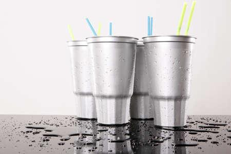 Cold silver soda plastic cups Foto de archivo
