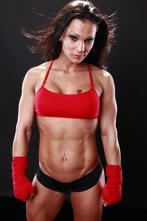 tough: Generador de cuerpo con envolturas de boxeo Foto de archivo