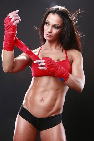 toned: Body builder with boxing wraps Stock Photo