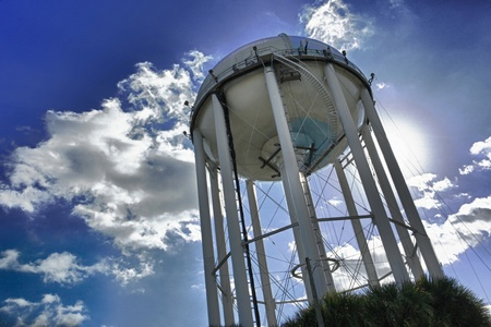 Public water tank undergoing maintenance Stock Photo
