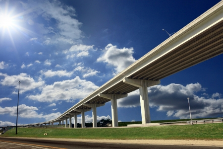 flyover: Long overpass on a sunny day