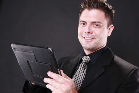 tablet: Businessman and his tablet pad