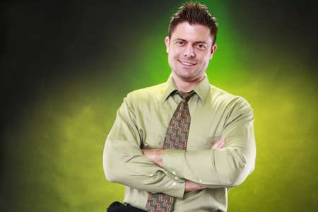 Young cofident businessman on matching background photo
