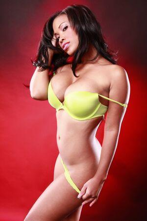 Green bikini on red