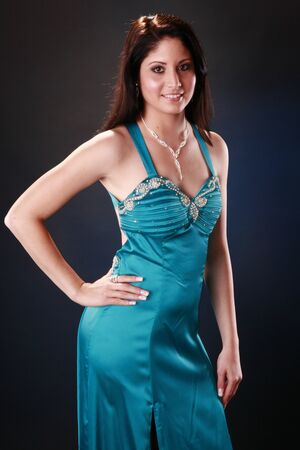 Cute brunette in cocktail gown Stock Photo - 9497773