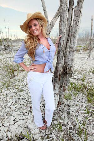 Blond in a salt desert photo
