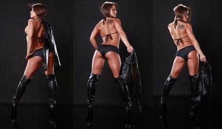 tatouage sexy: Ajustement brunette en bikini noir et veste en cuir